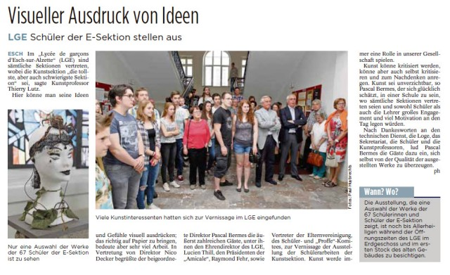 Tageblatt 2015 07 01 EXPO Vernissage