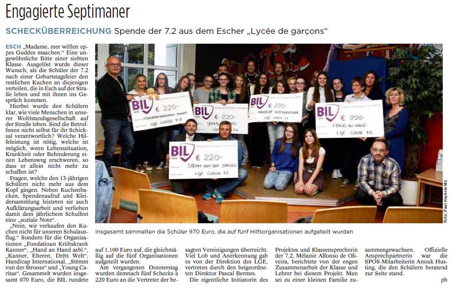 Tageblatt : 29.09.2015 p.50 / article par Paul Huybrechts