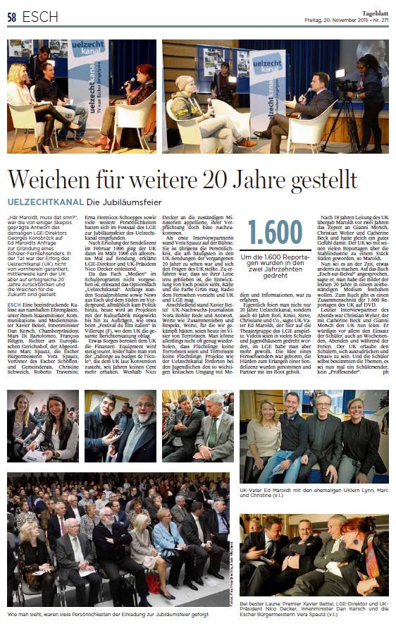 20 Joer UK Tageblatt Jubiläumsfeier