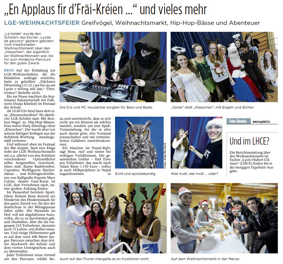 Tageblatt 16_12_2015 Charity Day 2